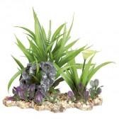 Plantas plástico base grava 18cm
